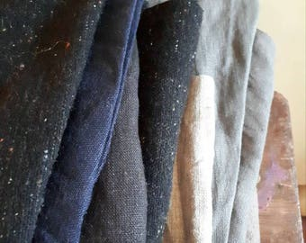 LINEN + WOOL FABRIC / mix bundle / remnants / runningthreads