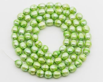 """Lime Green Pearl Beads, Freshwater Pearl, 6mm, 22"""" strand"""