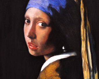 Girl with a pearl earring  -  print from my original pastel painting. After Johannes Vermeer