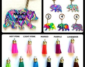 "Mama Bear Keychain Key Ring Acrylic Vinyl - Mama Bear - Key Ring - Gift for Mom, Mother, Mama - 3"" - You Choose Pattern and Tassel Color"