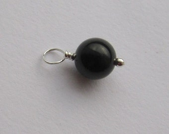 Black Onyx 8mm Sterling Silver Dangle Charm, With or Without Sterling Silver Jump Ring