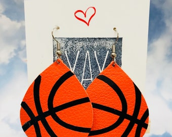 basketball earrings leather Basketball mom