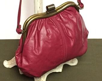 Vintage Red Leather Clutch Purse, Made in Haiti, Adjustable strap Handbag