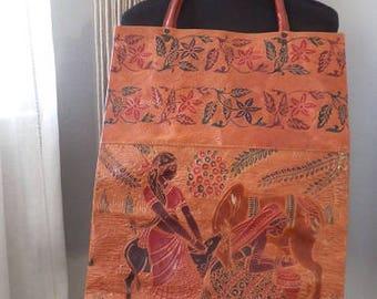 Vintage Tribal Sheepskin Leather Market Bag ~ Embossed Leather Carry All Tote Bag ~ BOHO Large Exotic Top Handle Bag