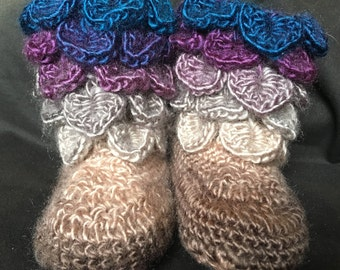 crocodile stitch booties/baby booties/crocodile stitch/dragon scale/slippers/house shoes/boots/purple/blue/brown/fairy.pixie/12-18 months
