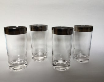 Set of 4 Mid Century Modern Dorothy Thorpe Silver Rim Highball Glasses