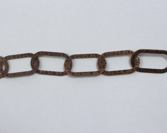 Antique Copper, 22mm x 12mm Large Textured Link Chain CC145