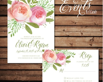 PRINTED watercolor peony invitation and rsvp