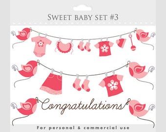 Clipart baby shower clip art baby girl pink pregnancy clip art nursery clipart sweet birds baby clothes clothesline congratulations digital