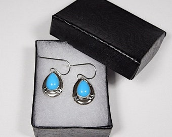 7x10mm Sleeping Beauty Turquoise 925 Sterling Silver Dangle Earrings - Made in USA