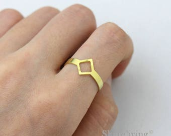 2pcs Raw Brass Rhombus Ring, Simple Ring, Open Adjustable Brass Rings - TR076