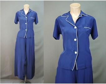 Vintage Blue Rayon Pajamas, 32 bust 24-26 inch waist, 1950s Elaine Sklar Lingerie, Wide Legged Pants