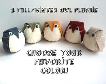 1 Owl Plushie - Choose from Olive, Denim, Gold, Nutmeg and Cranberry