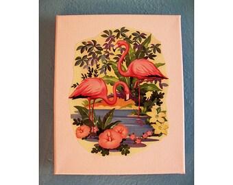 Pink flamingo wall print retro vintage Fifties Florida decor rockabilly kitsch