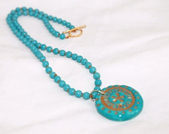 Handmade Ceramic Gold Luster Pendant Necklace