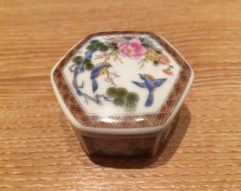 Small Hexagonal China Pill Box
