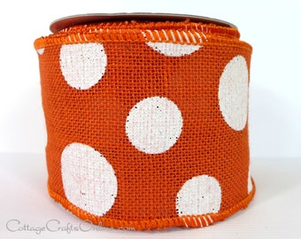 """Burlap Wired Ribbon, 4"""" wide, Orange and White Polka Dot - TEN YARD ROLL  - Offray """"Dixie"""" #100, Craft Wire Edged Ribbon"""