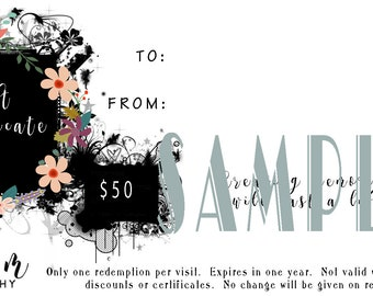 Sue M Photography 50 Dollar Gift Certificate