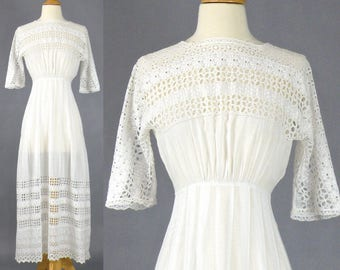 Antique Edwardian Dress, 1910s Embroidered White Cotton Eyelet Tea Dress, Bohemian Wedding Dress XS