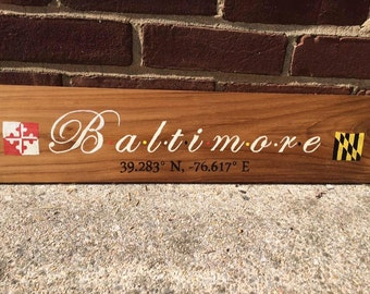 Baltimore, hand painted, longitude and latitude sign