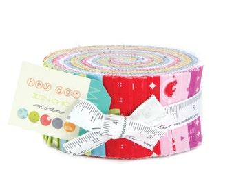 Moda Hey Dot Jelly Roll, 40 2.5x44-inch (6.4x112cm) Precut Fabric Strips by Zen Chic