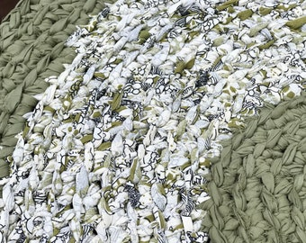 Round Rag Rug Olive Green and Cream Round  Rug Recycled Textiles Yarn 100% Cotton Ready to Ship