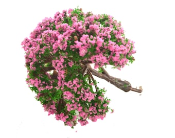 Pink Green Fluffy Miniature Tree Garden Plants Terrarium Doll House Ornament Fairy Decoration  AZ4175