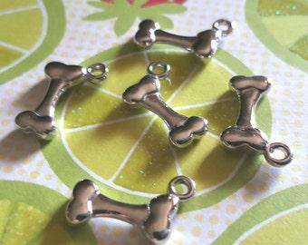 Dog Bone Charms - 10 pcs. - 3D Dog Charms - Silver Dog Bones - Silver Dog Charms - Bone Charms - Animal Charms -  Dog Charms - Pet charms