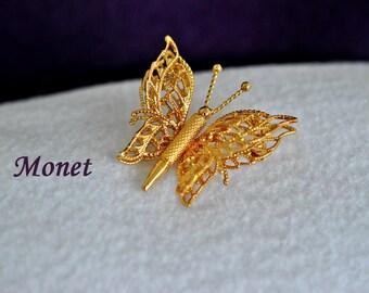 Vintage Monet Butterfly Brooch, Gold Tone, Monet Brooch, Monet Jewelry, Gold Brooch, Butterfly Pin, Vintage Brooch, Small Brooch, 18-56
