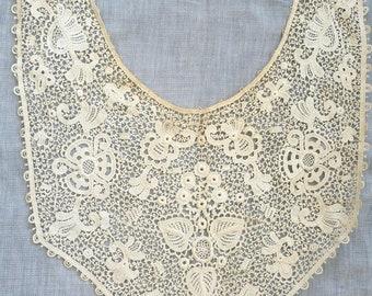 Large lace collar antique vintage cream cotton applique textile sewing