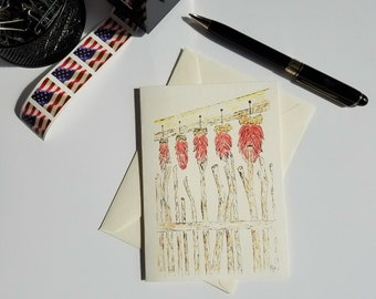 Southwestern Greeting Card, Southwest Ristras, Chili Ristras Notecard, Madrid Ristras, Hanging Ristras, blank note card, Red Chili Ristras