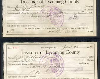 Two 1920's Receipts - Treasurer of Lycoming County - Collage, Decoupage, Visual Journals