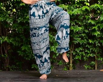 Green Thai Elephant Pants Thai Clothing Boho Clothing Harem Pants Thai Harem Pants Bohemian Pants