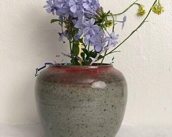 Speckled grey & red vase