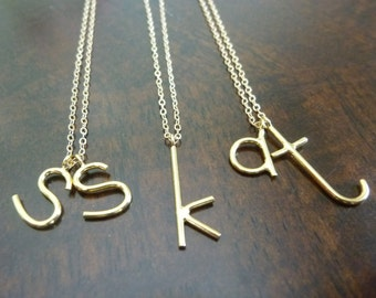 Letter Necklace-Lower Case Initial Necklace-Lowercase Initial Necklace-Gold Lower Case Letter Necklace-Gold Letter Necklace-Momentusny