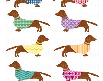 Dachshund Clip Art Set-dog clipart, wiener dogs, sausage dogs, patterned jackets, animal clipart, eps, png,jpeg, instant download