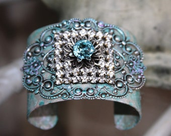 Flapper/Glitz/Artist Designed Bracelet/Cuff/Filigree/Painted/J'Adore