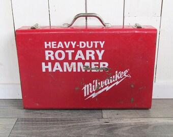 Vintage Milwaukee Rotary Hammer Case, Steel Toolbox, Utility Box