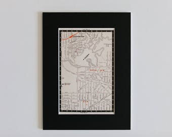1950s map of Melbourne suburbs, Australia - North Kew, Kew, Alphington, Yarra River, ready to frame, 6 x 8""