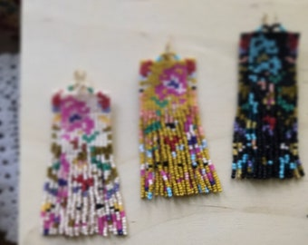 Colorful Abstract Floral Off Loom Handstitched Bead Earrings Panel Fringe Made to Order