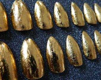 Gold Leaf Effect Stiletto False Nails.