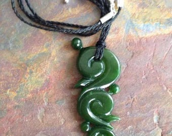Hand Carved Emerald Green Nephrite Jade Pendant  Necklace.