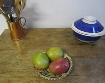 Vintage IKAT Woven bowl. Geometric IKAT Design Bowl. Key Catcher.