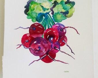 Radish watercolor painting, original watercolor radish painting, kitchen wall art, restaurant wall decor, kitchen home decor, radish artwork