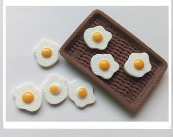 Spiegeleier Miniatur Essen Frühstück Harz Cabochon Flatbacks winzigen Kunststoff EM043018