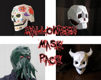 Halloween Mask Patterns - Four in One! Make Your Own Devil Skull, Cthulhu, and Skull Masks for 33% off! | DIY Halloween | Paper Mask