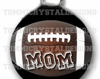 """1.5"""" Sporty Football MOM Soldered Art Collage Charm (also comes with no wording)"""