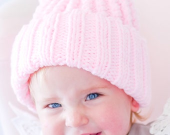 Pink Knit Look Bear Beanie / Winter Hat / Baby Beanie / Baby Hat