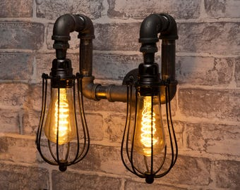 Double Black industrial iron pipe caged wall light - Free UK postage