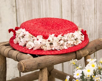 années 1930 vintage rouge paille Chapeau-w / chapellerie - blanc fleurs rouge velours fleurs - Summer Party Cottage Shabby campagne Chic des années 1940